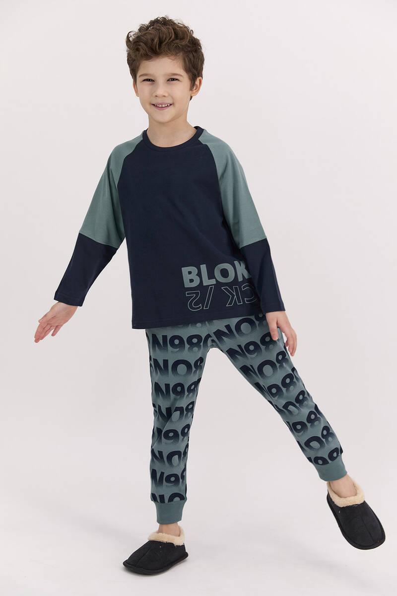 RolyPoly - RolyPoly Blok Lacivert Erkek Çocuk Pijama Takımı
