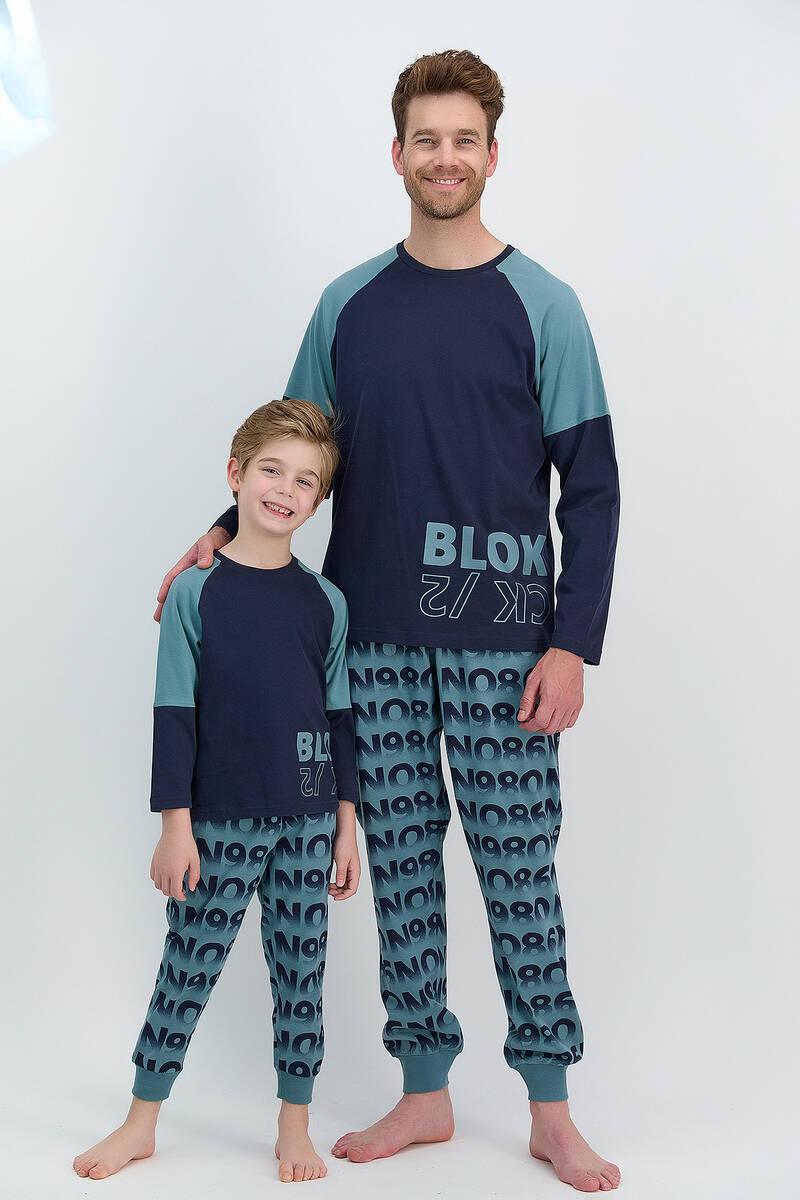 RolyPoly - RolyPoly Blok Lacivert Erkek Pijama Takımı (1)