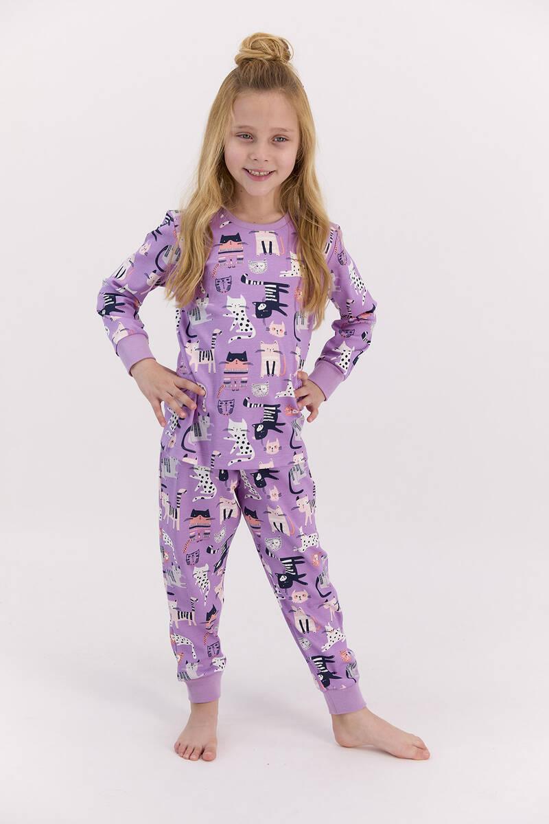RolyPoly - RolyPoly Cats Lila Kız Çocuk Pijama Takımı