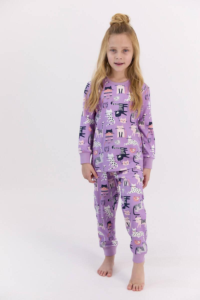 RolyPoly - RolyPoly Cats Lila Kız Çocuk Pijama Takımı (1)