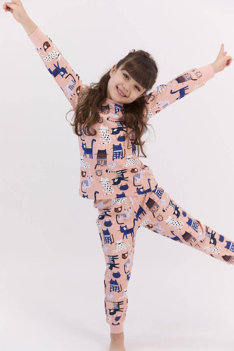 RolyPoly - RolyPoly Cats Mocha Kız Çocuk Pijama Takımı (1)