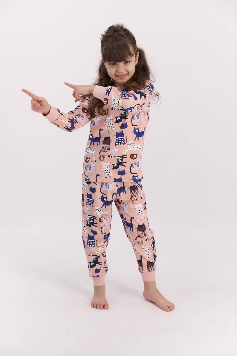 RolyPoly - RolyPoly Cats Mocha Kız Çocuk Pijama Takımı