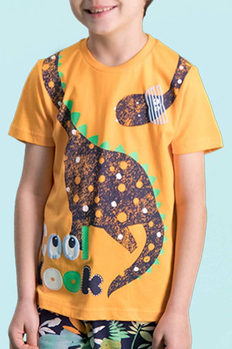 RolyPoly - RolyPoly Cool Dinosaur Oranj Erkek Çocuk Bermuda Takım (1)