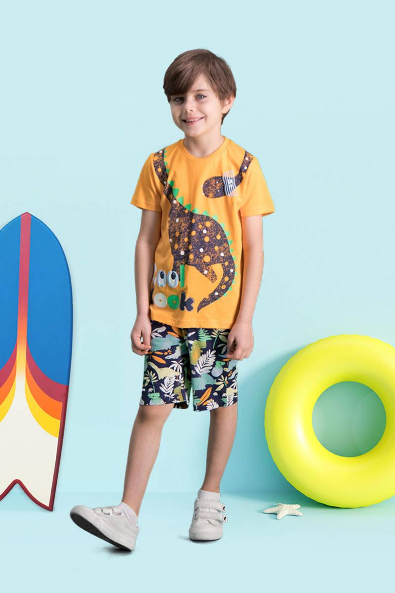 RolyPoly - RolyPoly Cool Dinosaur Oranj Erkek Çocuk Bermuda Takım