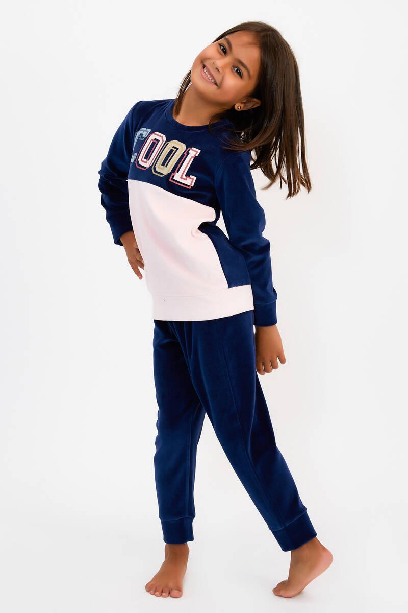 RolyPoly - RolyPoly Cool Lacivert Kız Çocuk Kadife Eşofman Takımı