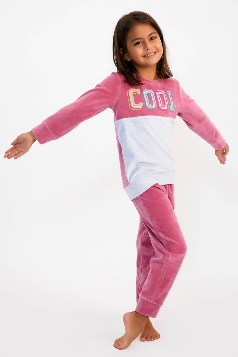 RolyPoly - RolyPoly Cool Menekşe Kız Çocuk Kadife Eşofman Takımı