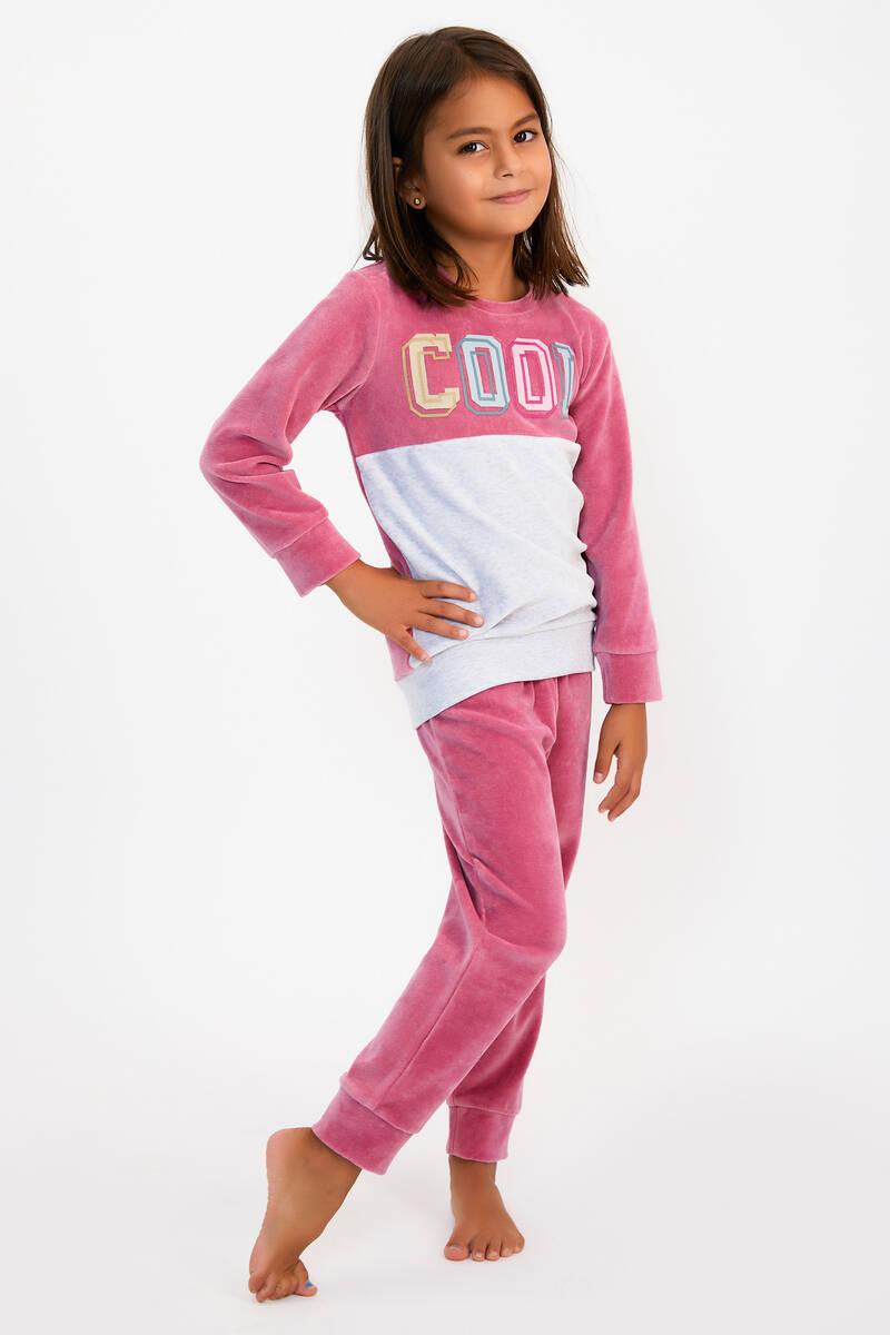 RolyPoly - RolyPoly Cool Menekşe Kız Çocuk Kadife Eşofman Takımı (1)