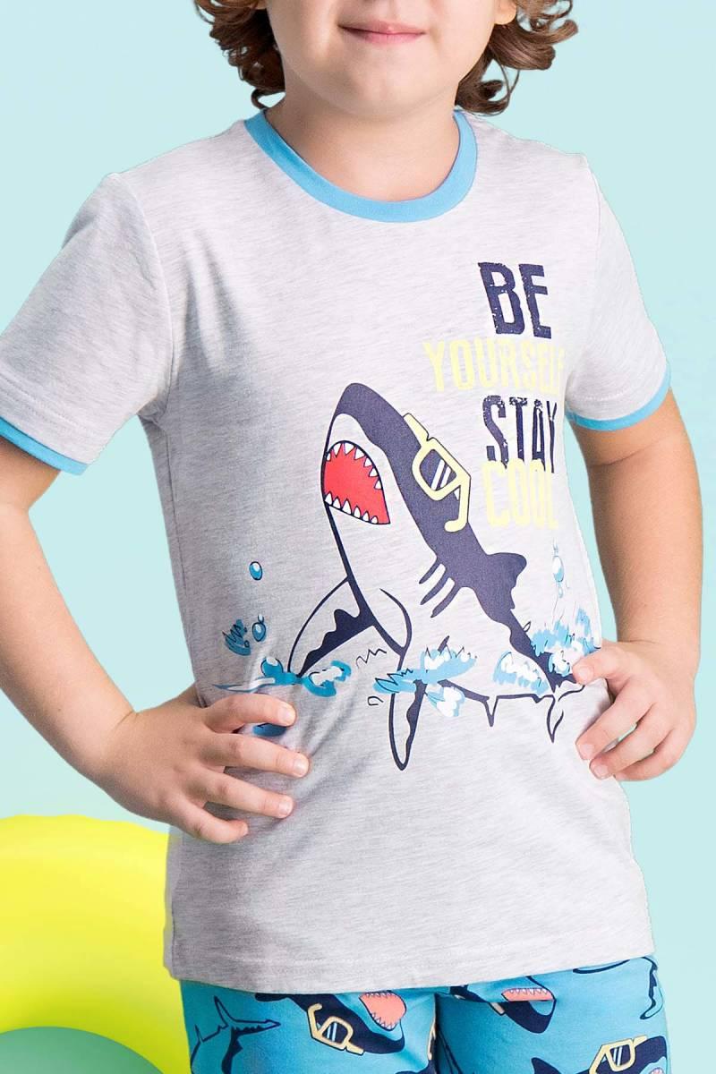 RolyPoly - RolyPoly Cool Shark Açık Gri Erkek Çocuk Kapri Takım (1)