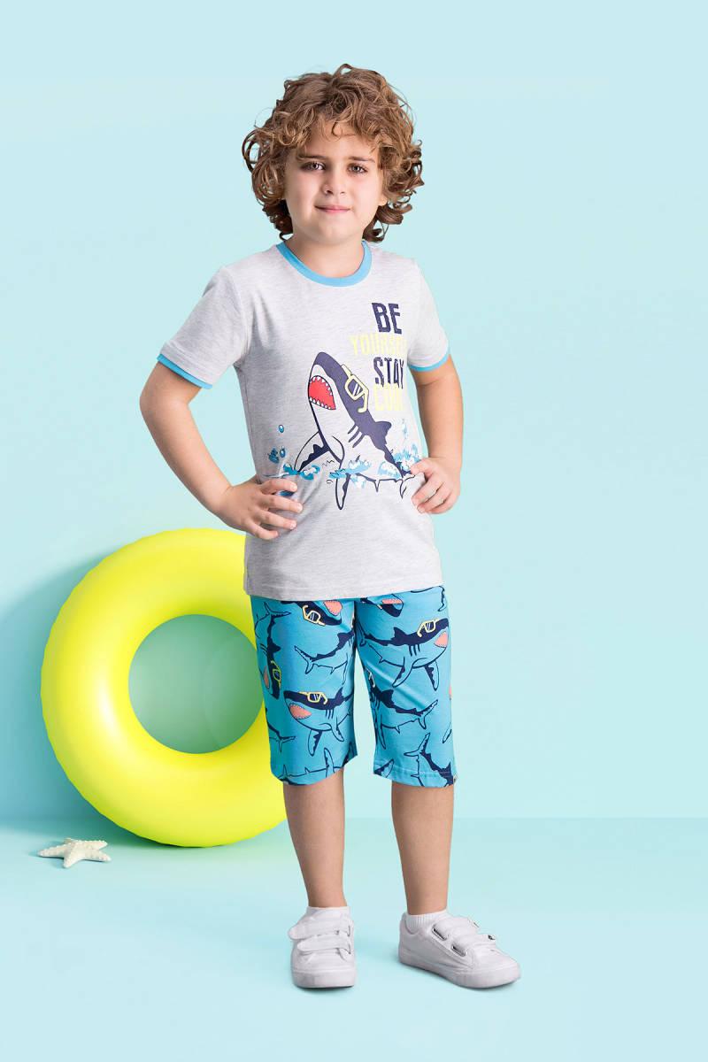 RolyPoly - RolyPoly Cool Shark Açık Gri Erkek Çocuk Kapri Takım
