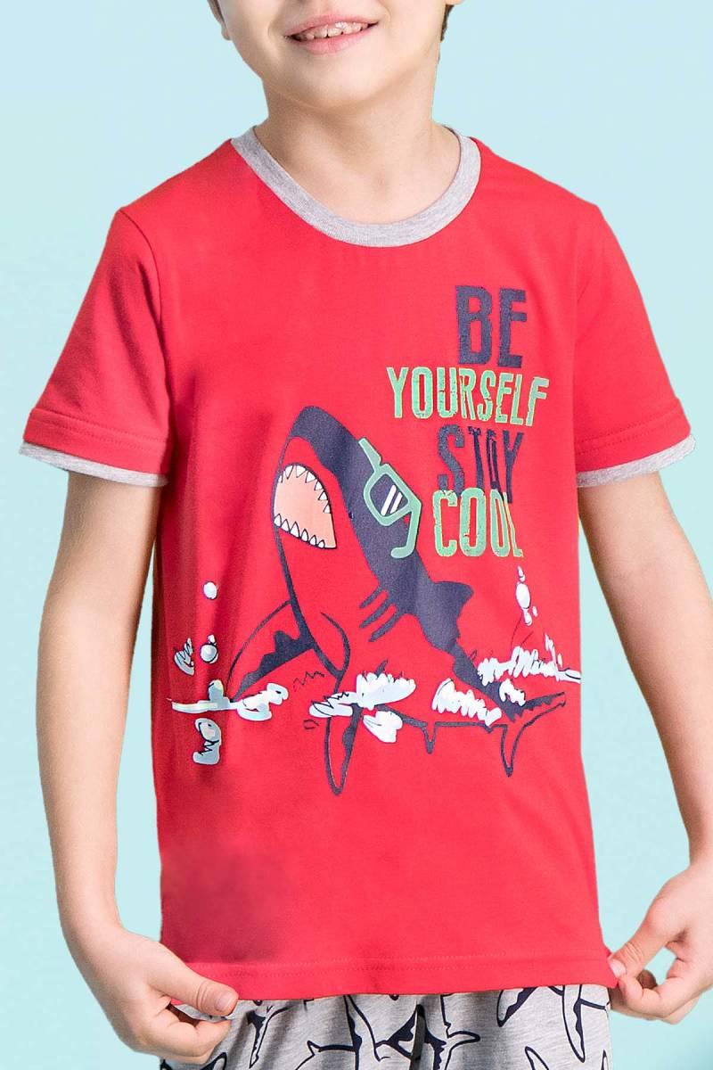 RolyPoly - RolyPoly Cool Shark Kırmızı Erkek Çocuk Kapri Takım (1)