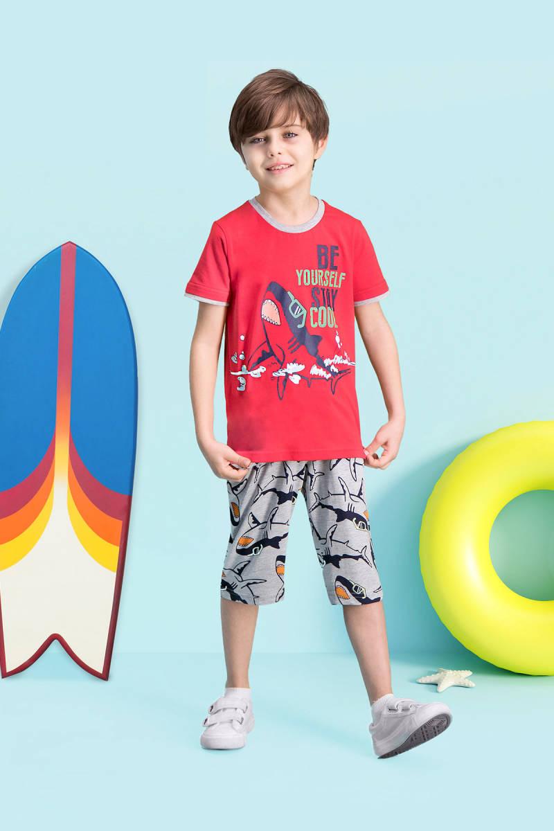 RolyPoly - RolyPoly Cool Shark Kırmızı Erkek Çocuk Kapri Takım