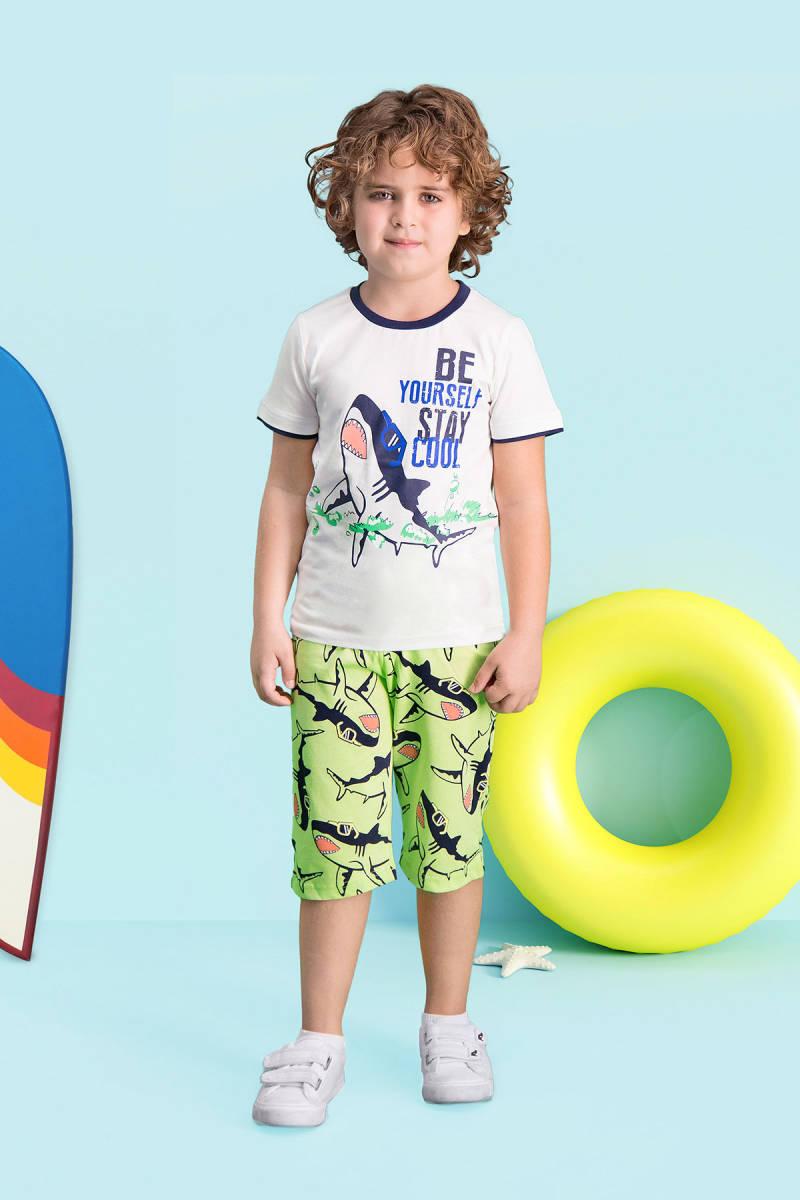 RolyPoly - RolyPoly Cool Shark Krem Erkek Çocuk Kapri Takım