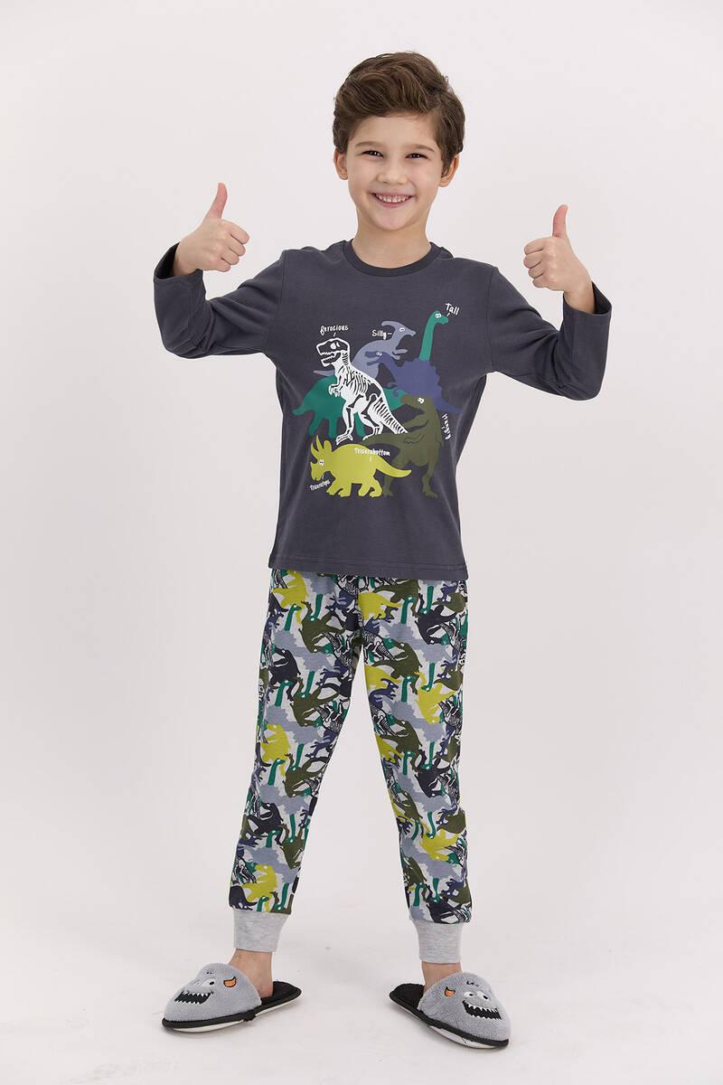 RolyPoly - RolyPoly Dinosaour Antrasit Erkek Çocuk Pijama Takımı