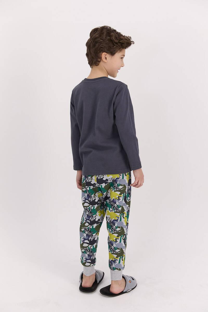 RolyPoly - RolyPoly Dinosaour Antrasit Erkek Çocuk Pijama Takımı (1)