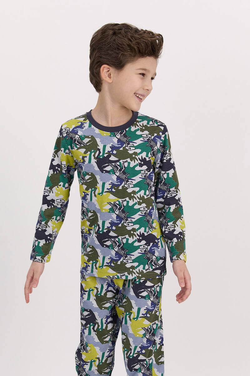 RolyPoly - RolyPoly Dinosaour Grimelanj Erkek Çocuk Pijama Takımı (1)