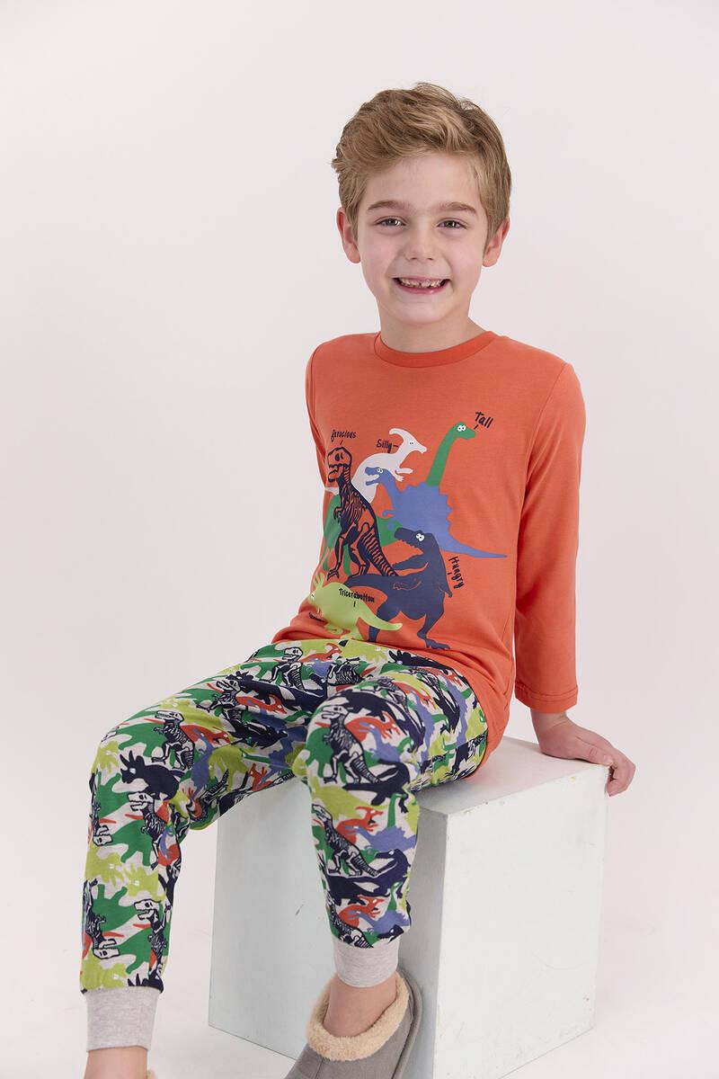 RolyPoly - RolyPoly Dinosaour Turuncu Erkek Çocuk Pijama Takımı (1)