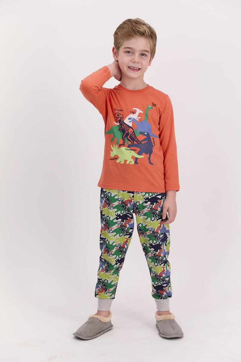 RolyPoly - RolyPoly Dinosaour Turuncu Erkek Çocuk Pijama Takımı