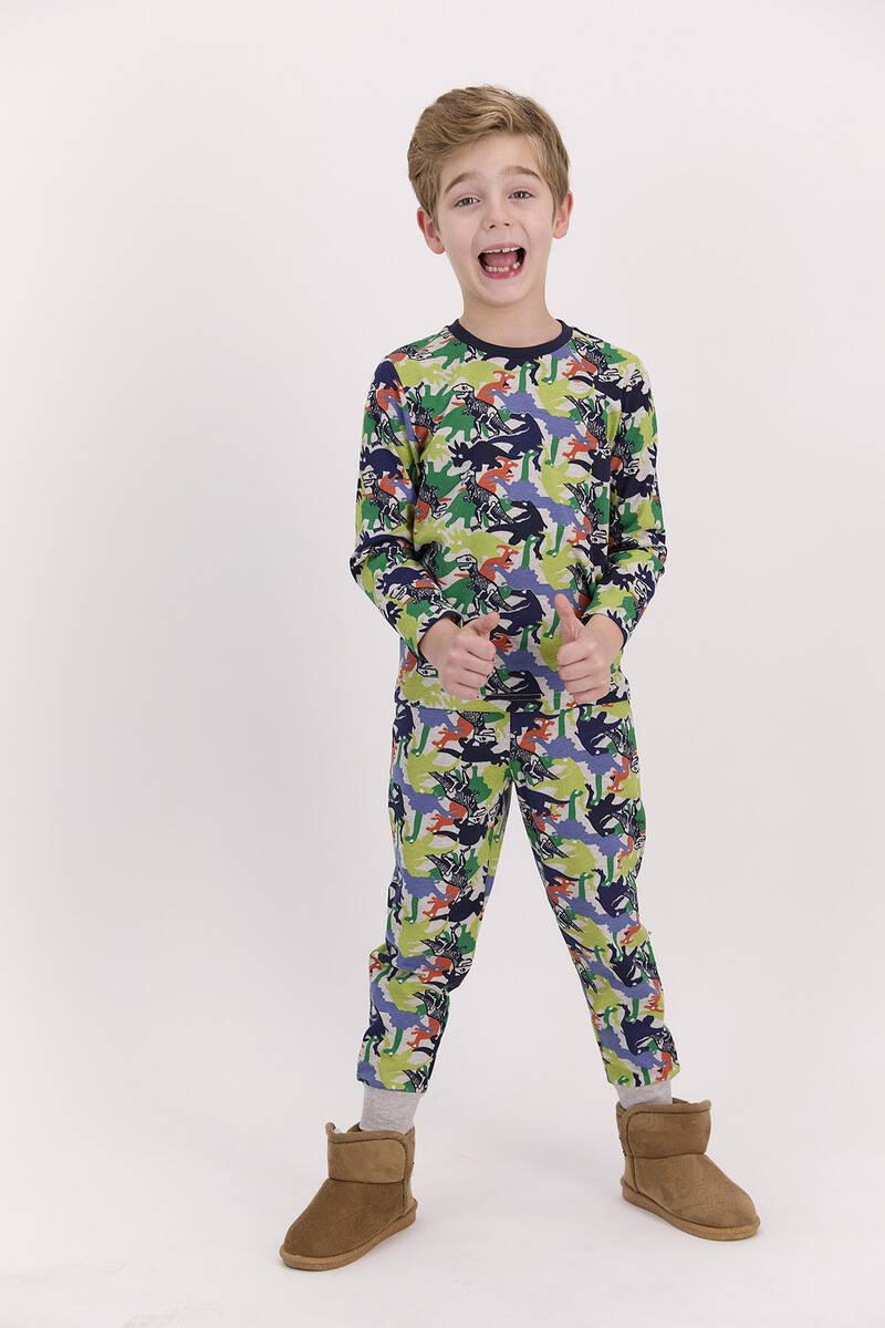 RolyPoly - RolyPoly Dinosaurs Bejmelanj Erkek Çocuk Pijama Takımı