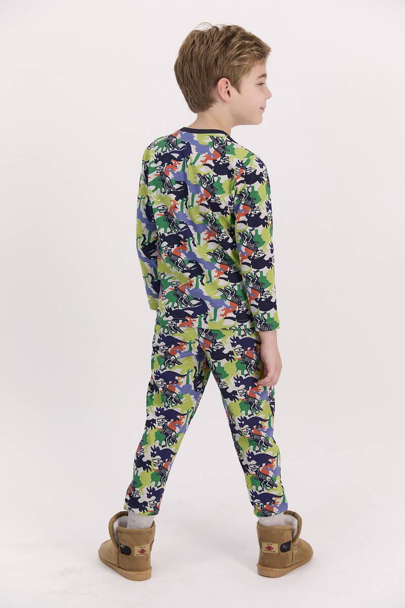 RolyPoly - RolyPoly Dinosaurs Bejmelanj Erkek Çocuk Pijama Takımı (1)