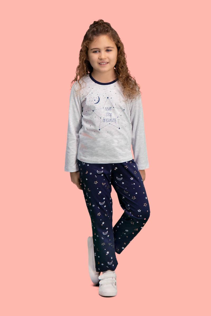 RolyPoly - RolyPoly Dreaming Açık Gri Kız Çocuk Pijama Takımı