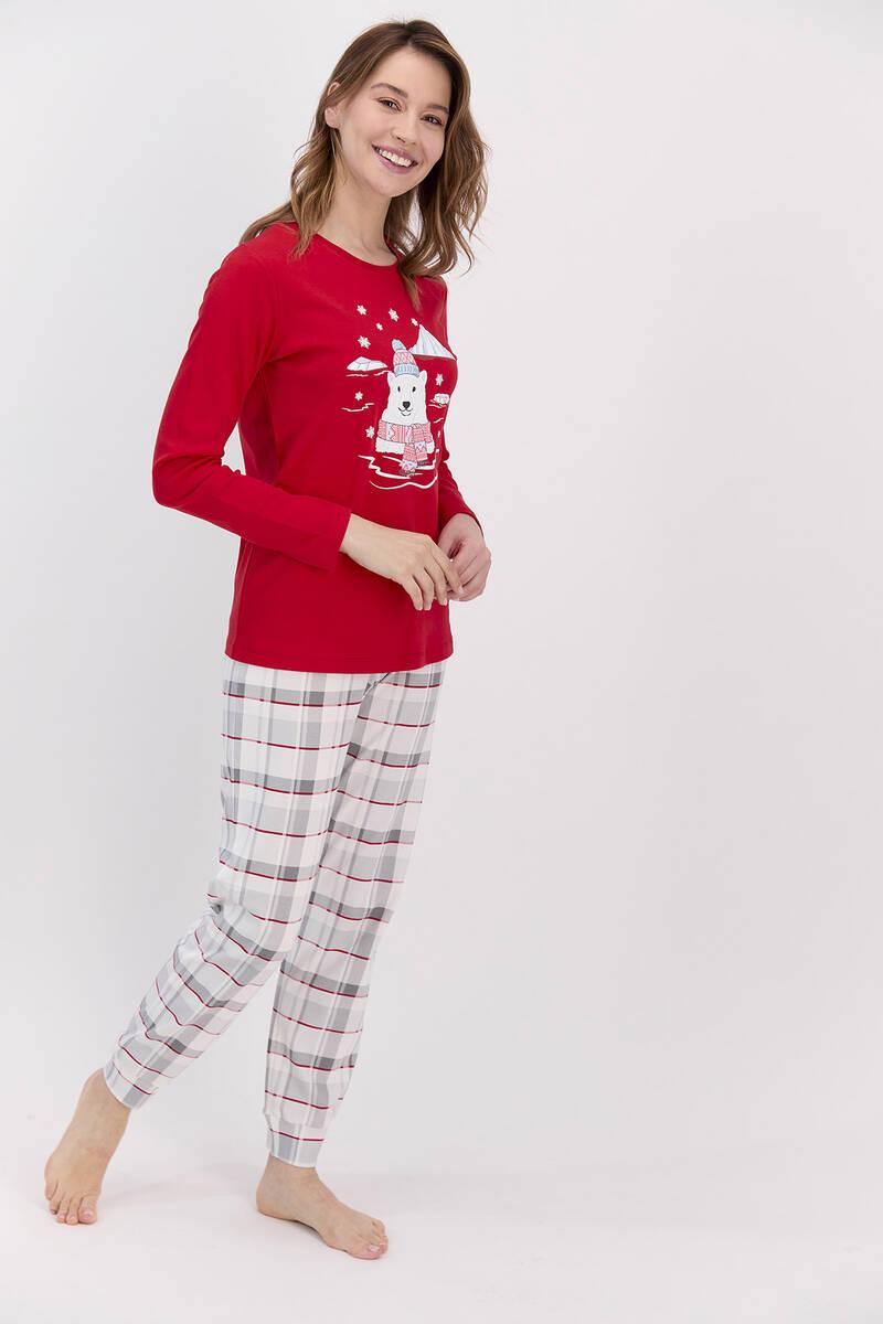 RolyPoly - RolyPoly Ekoseli Kırmızı Kadın Pijama Takımı