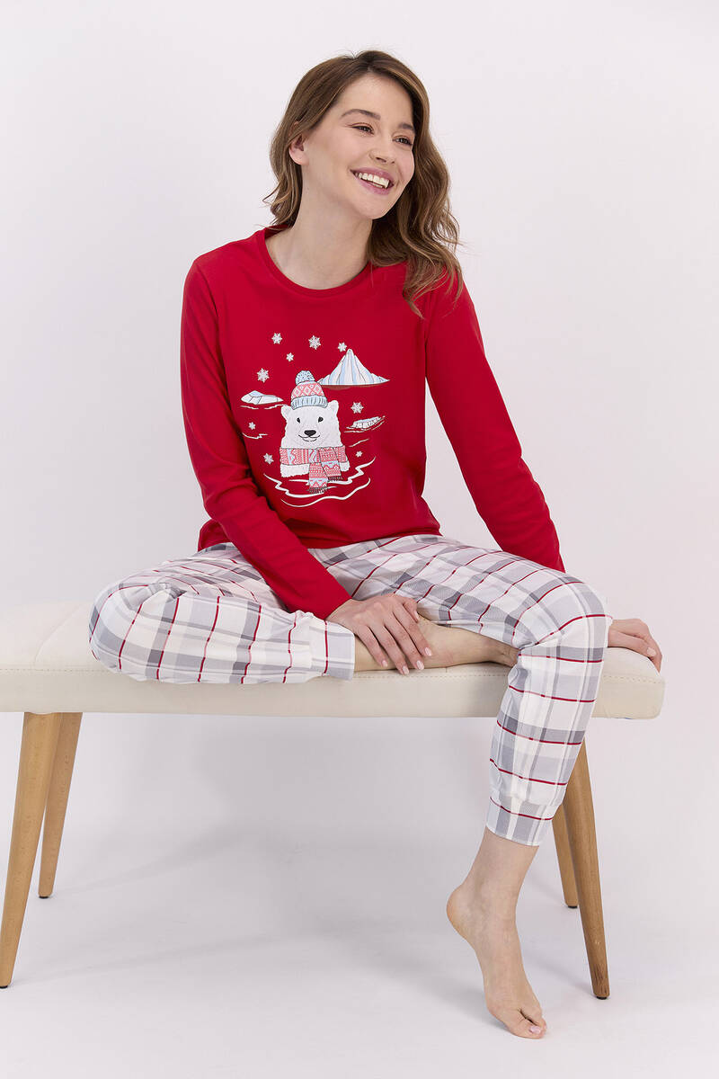 RolyPoly - RolyPoly Ekoseli Kırmızı Kadın Pijama Takımı (1)