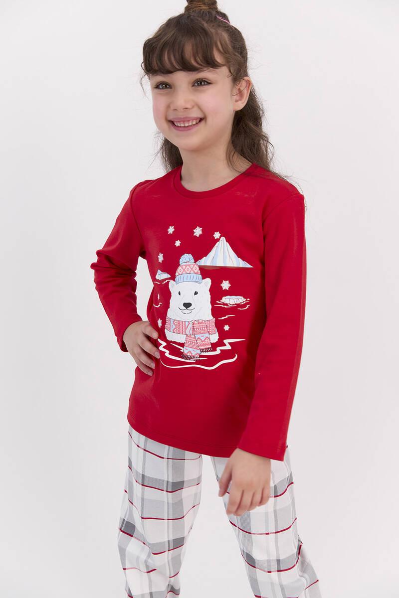 RolyPoly - RolyPoly Ekoseli Kırmızı Kız Çocuk Pijama Takımı (1)