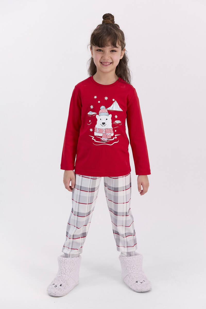 RolyPoly - RolyPoly Ekoseli Kırmızı Kız Çocuk Pijama Takımı