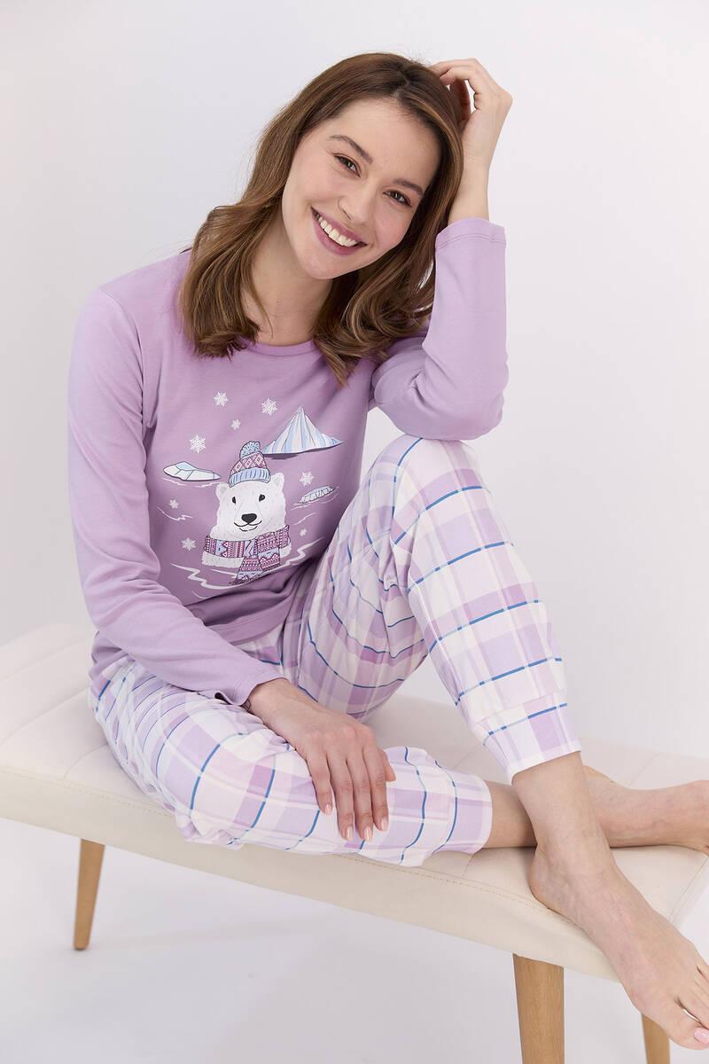 RolyPoly - RolyPoly Ekoseli Lila Kadın Pijama Takımı (1)