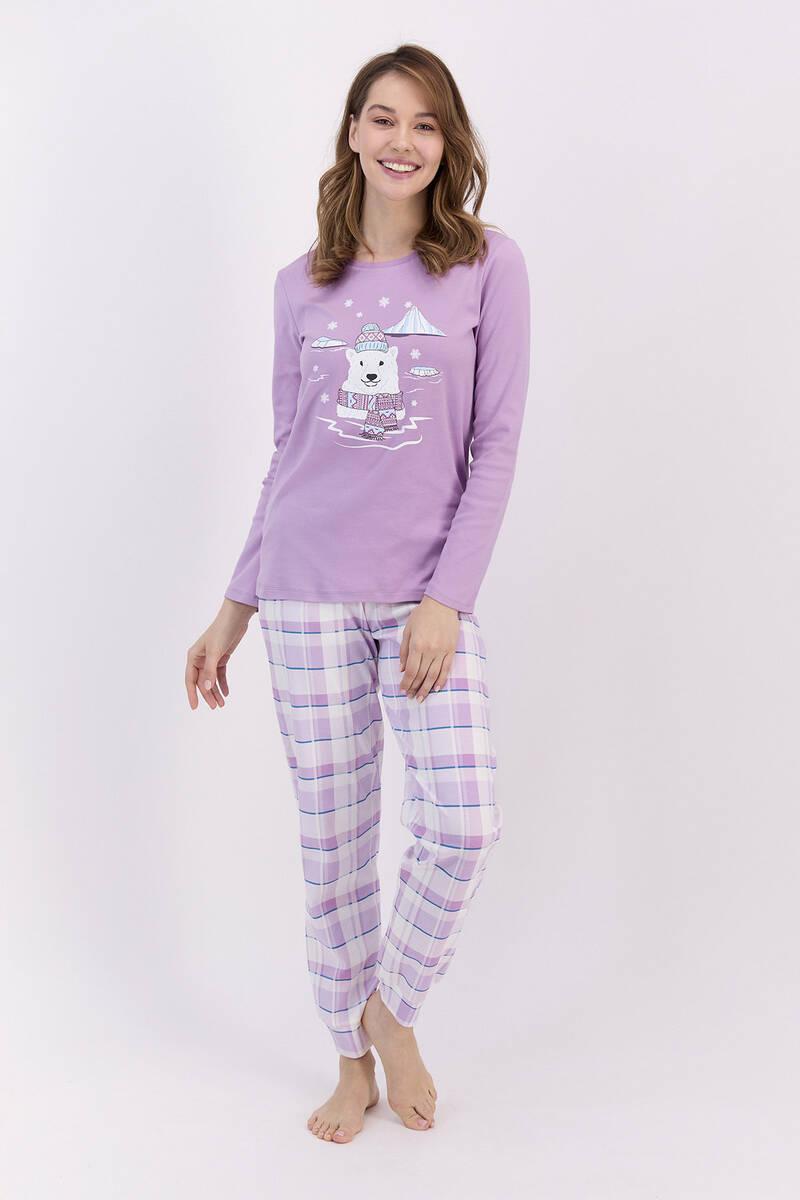 RolyPoly - RolyPoly Ekoseli Lila Kadın Pijama Takımı