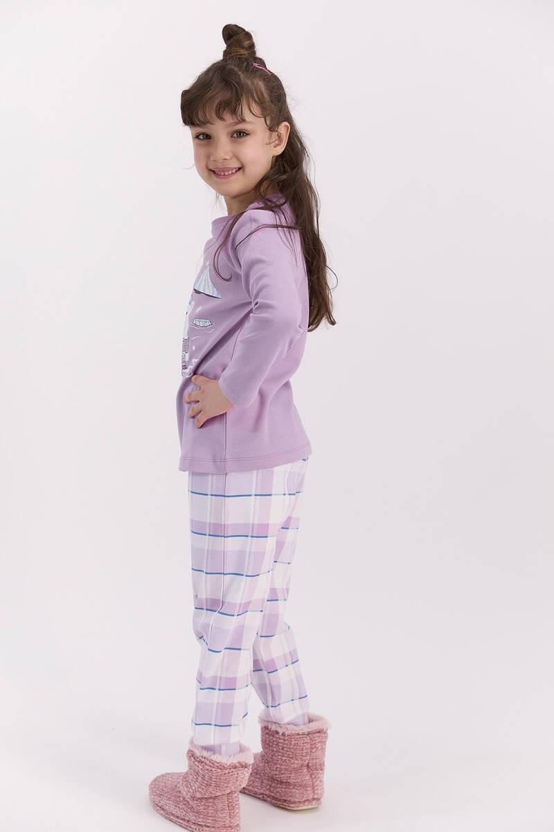 RolyPoly - RolyPoly Ekoseli Lila Kız Çocuk Pijama Takımı (1)