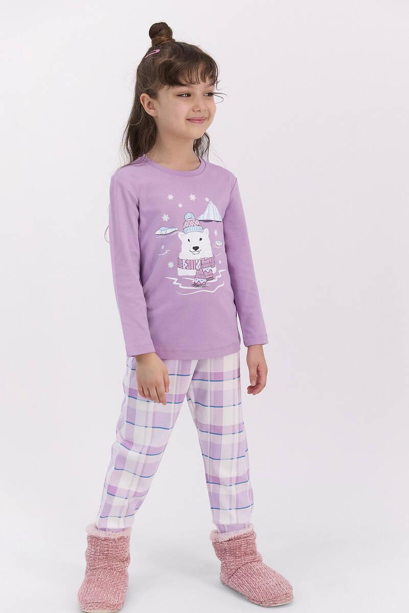 RolyPoly - RolyPoly Ekoseli Lila Kız Çocuk Pijama Takımı