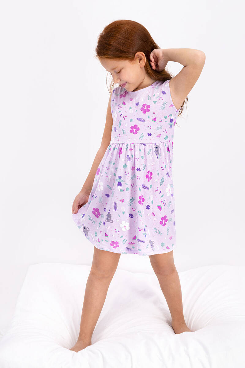 RolyPoly - Rolypoly Floral Pattern Açık Lila Kız Çocuk Elbise