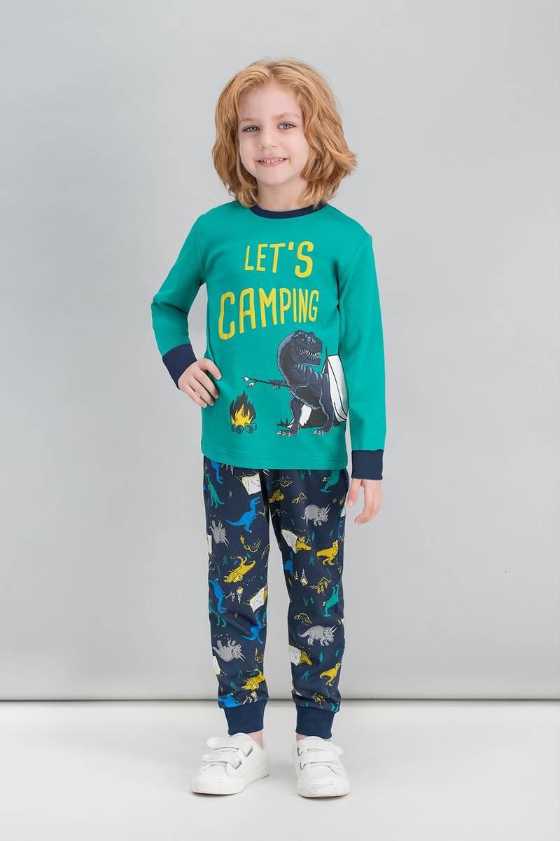 RolyPoly - RolyPoly Dinosaur Camping Zümrüt Yeşil Erkek Çocuk Pijama Takımı