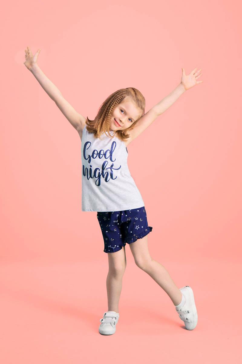RolyPoly - RolyPoly Good Night Açık Gri Kız Çocuk Şort Takım