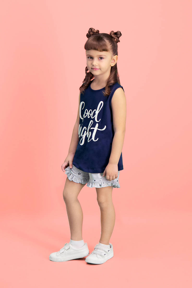 RolyPoly - RolyPoly Good Night Lacivert Kız Çocuk Şort Takım