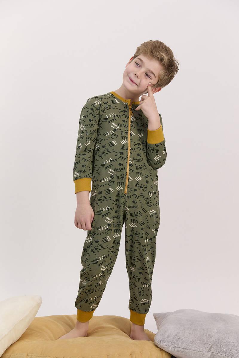 RolyPoly - RolyPoly Haki Erkek Çocuk Fermuarlı Tulum