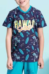 RolyPoly - RolyPoly Hawaii Surf Lacivert Erkek Çocuk Bermuda Takım (1)