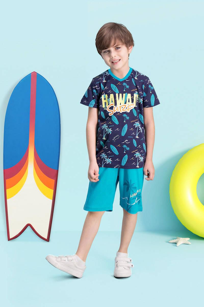 RolyPoly - RolyPoly Hawaii Surf Lacivert Erkek Çocuk Bermuda Takım