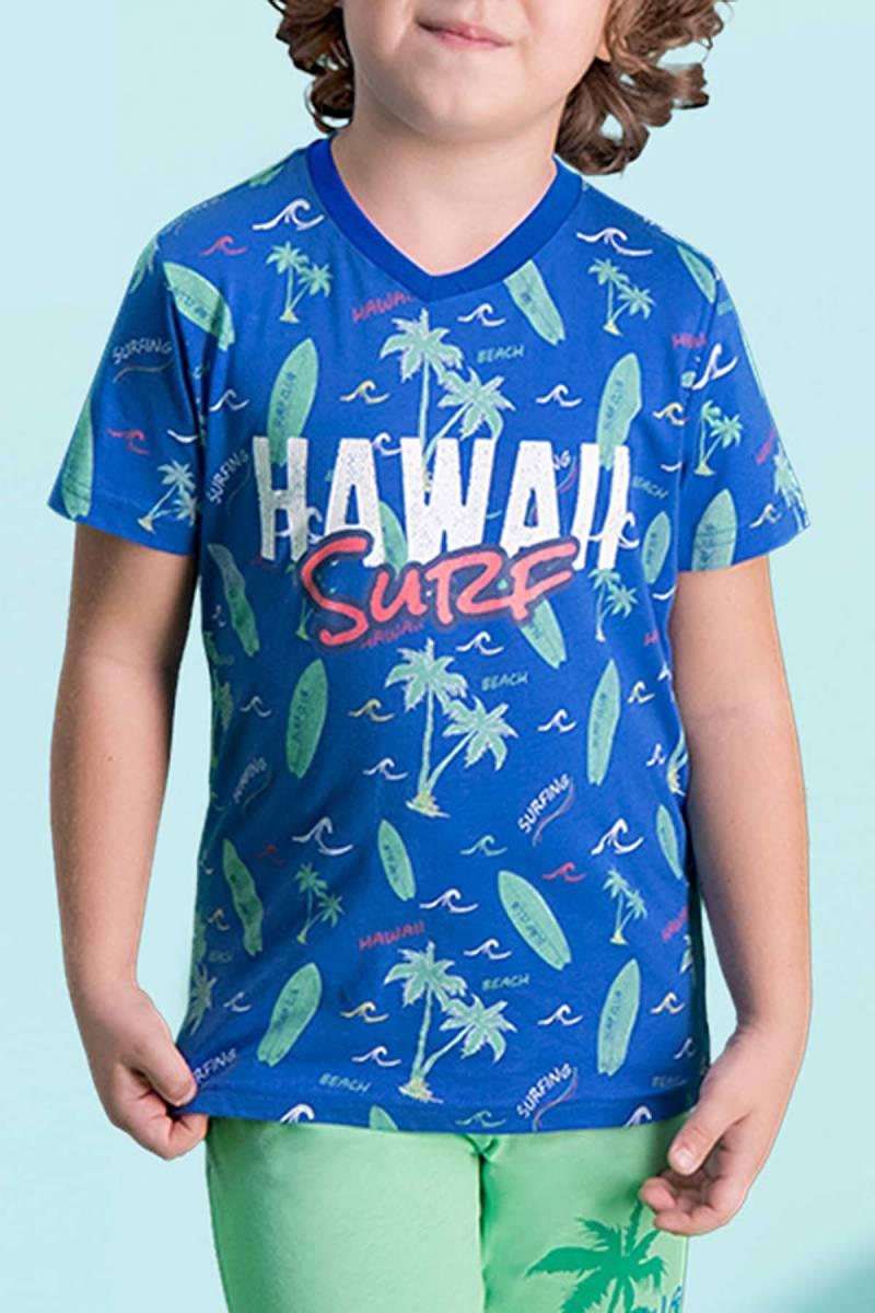 RolyPoly - RolyPoly Hawaii Surf Mavi Erkek Çocuk Bermuda Takım (1)