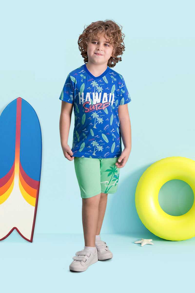 RolyPoly Hawaii Surf Mavi Erkek Çocuk Bermuda Takım