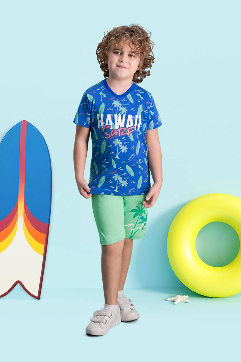 RolyPoly - RolyPoly Hawaii Surf Mavi Erkek Çocuk Bermuda Takım