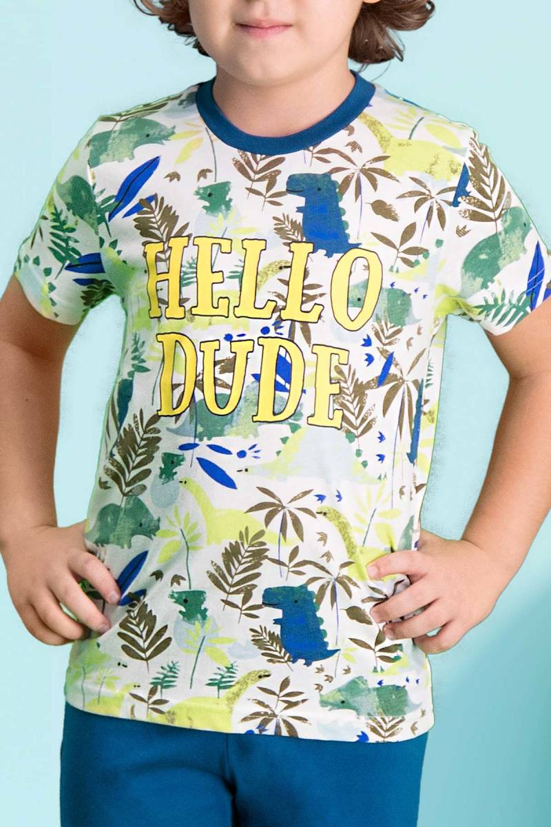 RolyPoly - RolyPoly Hello Dude Krem Erkek Çocuk Pijama Takımı (1)