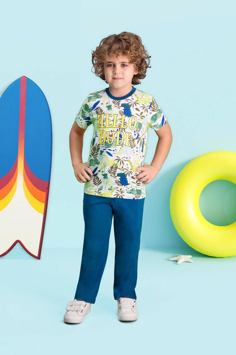 RolyPoly - RolyPoly Hello Dude Krem Erkek Çocuk Pijama Takımı