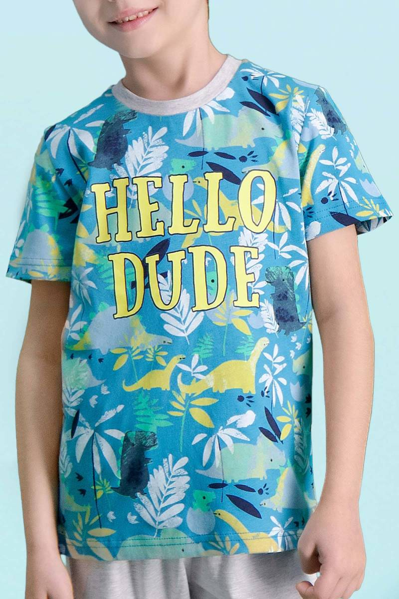 RolyPoly - RolyPoly Hello Dude Petrol Erkek Çocuk Pijama Takımı (1)