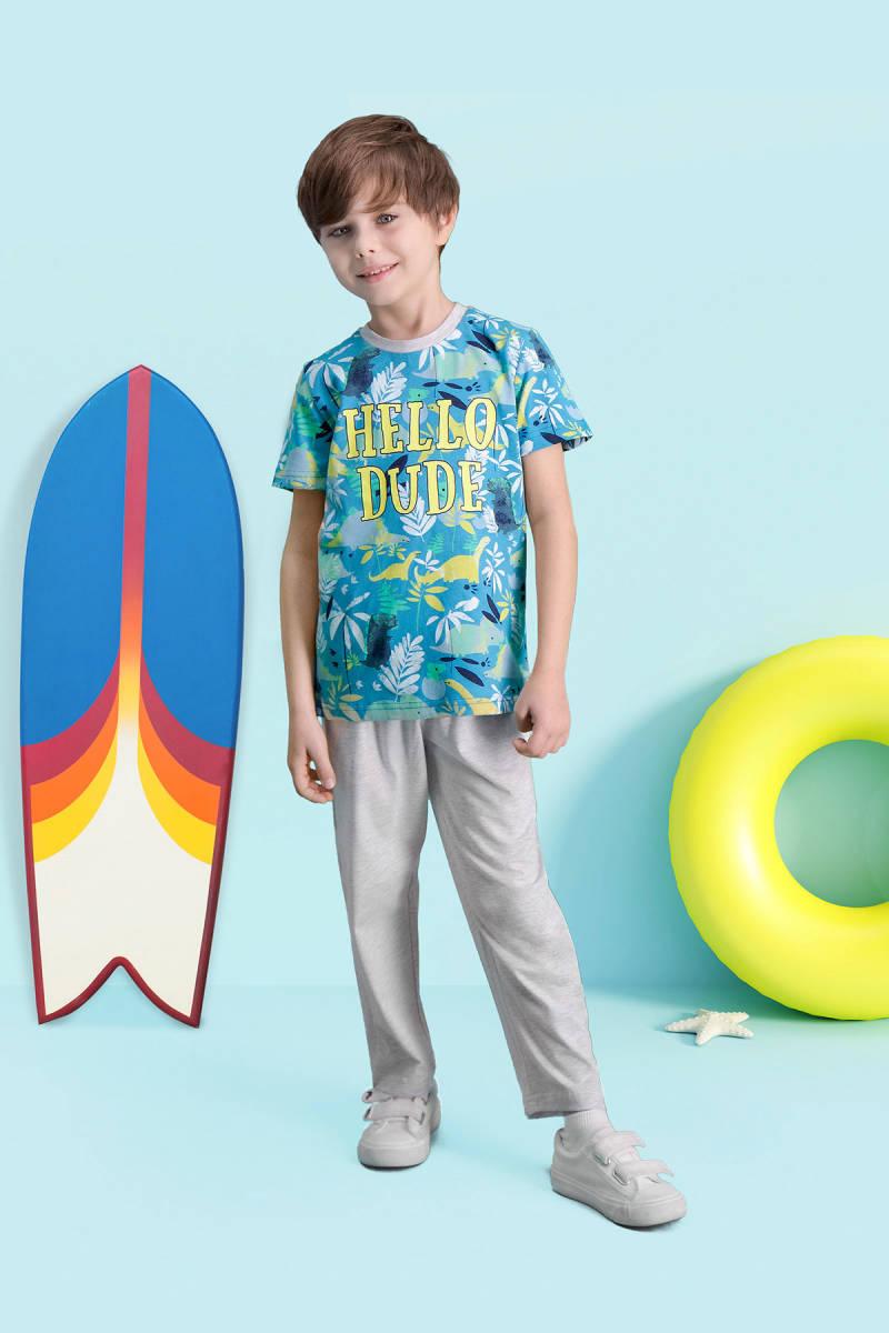 RolyPoly - RolyPoly Hello Dude Petrol Erkek Çocuk Pijama Takımı