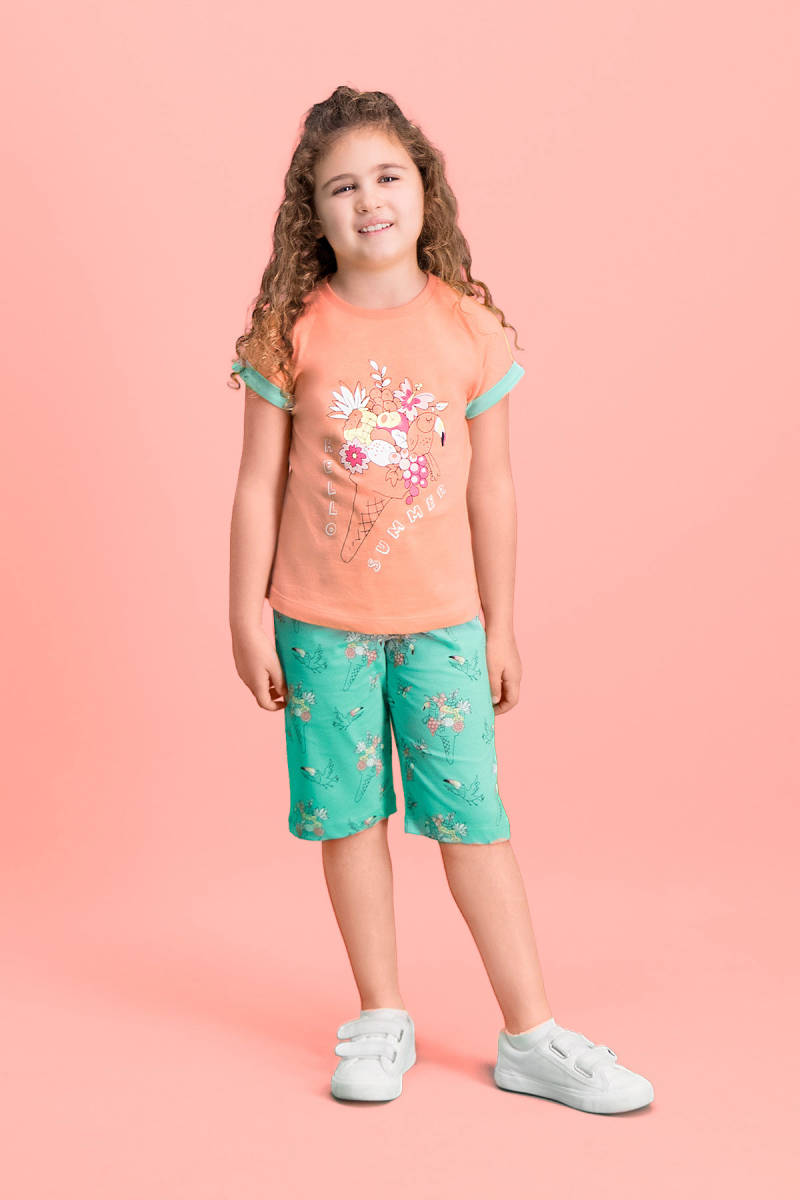 RolyPoly - RolyPoly Hello Summer Yavruağzı Kız Çocuk Kapri Takım