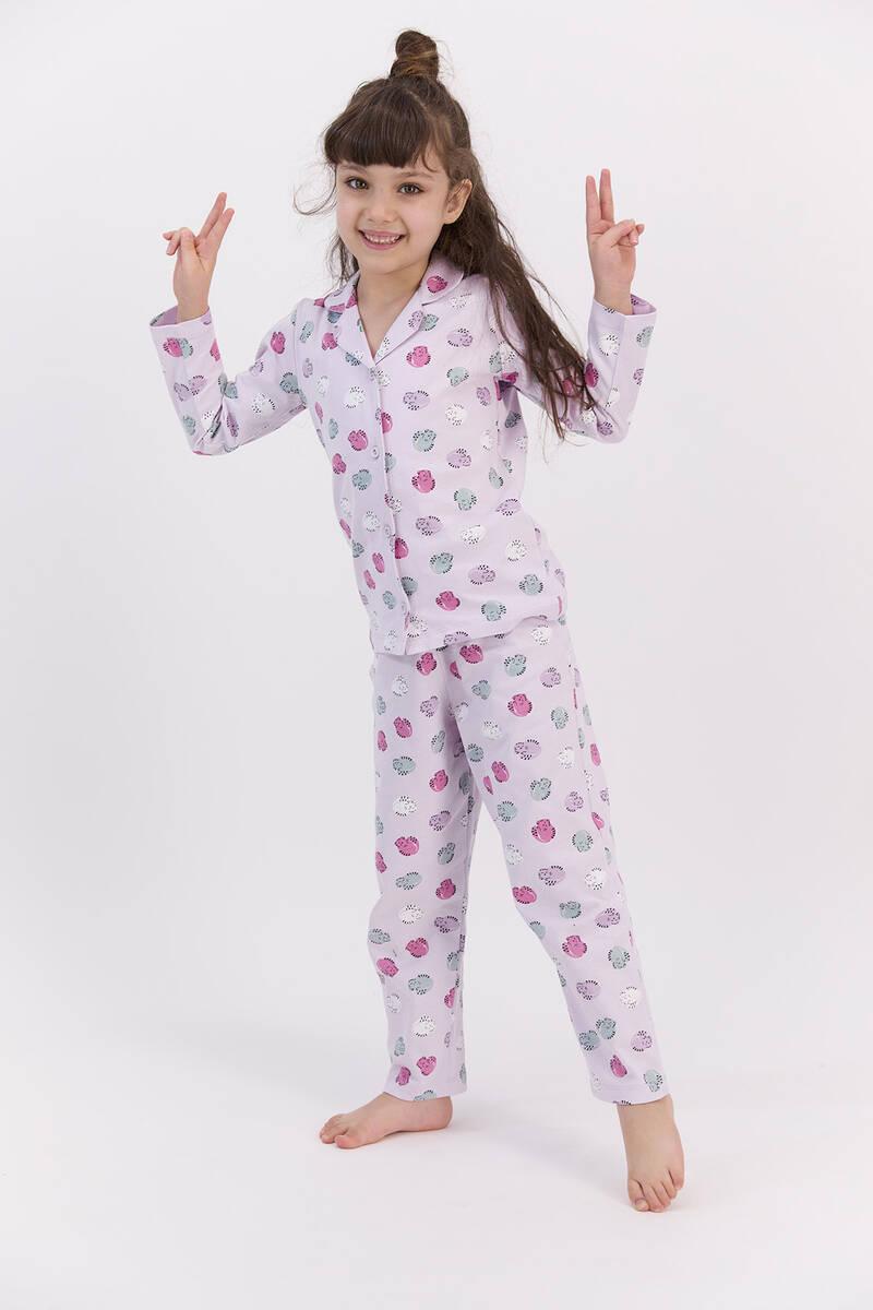 RolyPoly - RolyPoly Hendgehogs Açık Lila Kız Çocuk Gömlek Pijama Takımı