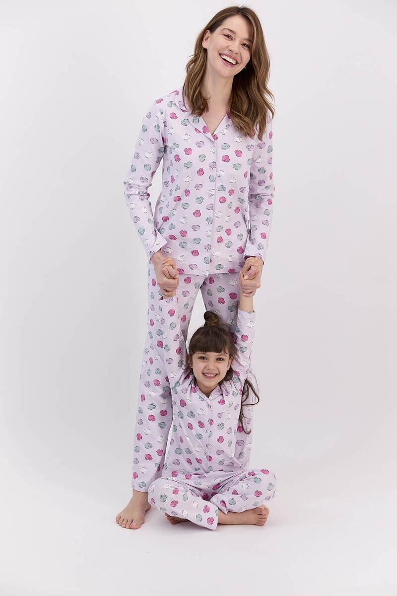 RolyPoly - RolyPoly Hendgehogs Açık Lila Kız Çocuk Gömlek Pijama Takımı (1)