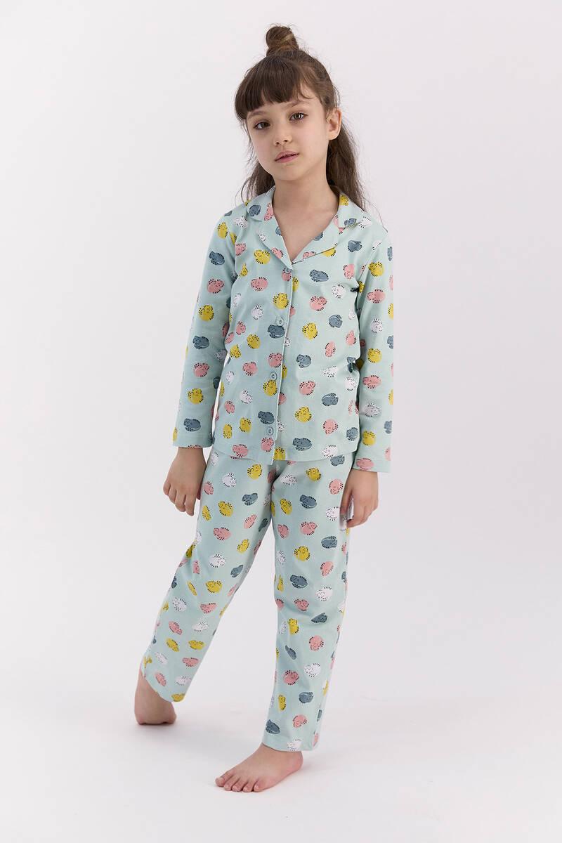 RolyPoly - RolyPoly Hendgehogs Açık Mint Kız Çocuk Gömlek Pijama Takımı